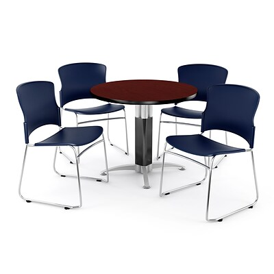 OFM PKG-BRK-027-0012 36 Round Laminate Multi-Purpose Table with 4 Chairs, Mahogany Table/Navy Chair