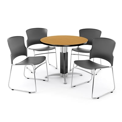OFM PKG-BRK-029-0013 42 Round Laminate Multi-Purpose Table with 4 Chairs, Oak Table/Gray Chair