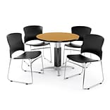 OFM PKG-BRK-027-0014 36 Round Laminate Multi-Purpose Table with 4 Chairs, Oak Table/Black Chair