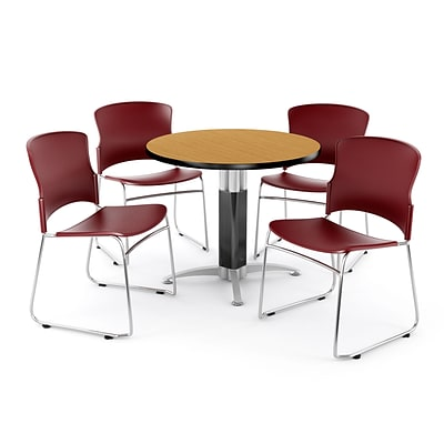 OFM PKG-BRK-029-0015 42 Round Laminate Multi-Purpose Table with 4 Chairs, Oak Table/Wine Chair