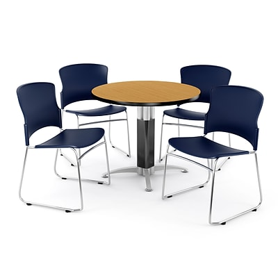 OFM PKG-BRK-029-0016 42 Round Laminate Multi-Purpose Table with 4 Chairs, Oak Table/Navy Chair