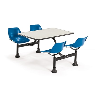 OFM 1003-BLUE-BGNB 30x48 Rectangle Laminate Cluster Table w 4 Chairs; Beige Nebula Table/BLUChair