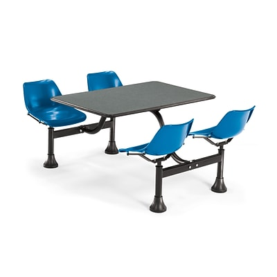 OFM 1002-BLUE-GRYNB 24x48 Rectangular Laminate Cluster Table w 4 Chairs; GRY Nebula Table/BLUChair