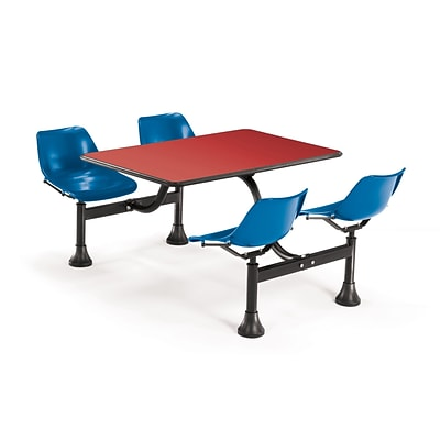 OFM 1002-BLUE-RED 24 x 48 Rectangular Laminate Cluster Table with 4 Chairs; Red Table/Blue Chair