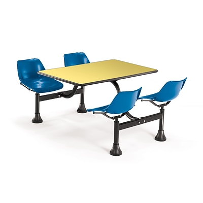 OFM 1002-BLUE-YLW 24 x 48 Rectangular Laminate Cluster Table w 4 Chairs; Yellow Table/Blue Chair