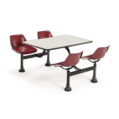 OFM 1002-MRN-BGNB 24x48 Rectangle Laminate Beige Nebula Cluster Table With 4 Maroon Chairs