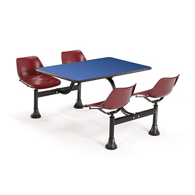 OFM 1002-MRN-BLUE 24 x 48 Rectangular Laminate Cluster Table w 4 Chairs; Blue Table/Maroon Chair