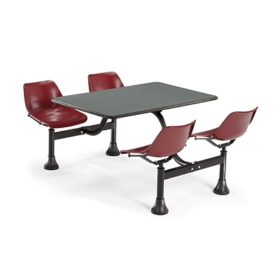 OFM 1002-MRN-GRYNB 24x48 Rectangle Laminate Gray Nebula Cluster Table With 4 Maroon Chairs