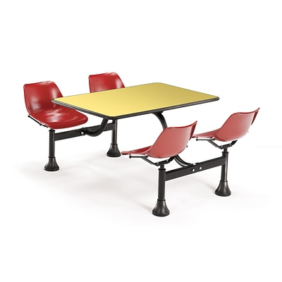OFM 1002-RED-YLW 24 x 48 Rectangular Laminate Cluster Table with 4 Chairs; Yellow Table/Red Chair