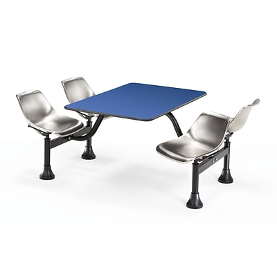 OFM 1003-SS-BLUE 30 x 48 Rectangular Laminate Cluster Table w 4 Chairs; Blue Table/Stainless Chair