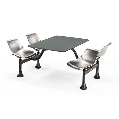 OFM 1002-SS-GRYNB 24x48 Rectangle Laminate Gray Nebula Cluster Table w 4 Chairs; Stainless Chair