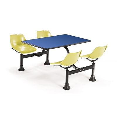 OFM 1002-YLW-BLUE 24 x 48 Rectangular Laminate Cluster Table w 4 Chairs; Blue Table/Yellow Chair