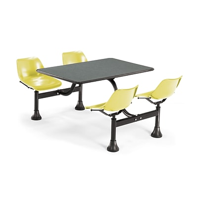 OFM 1002-YLW-GRYNB 24x48 Rectangular Laminate Cluster Table w 4 Chairs; GRY Nebula Table/YLW Chair