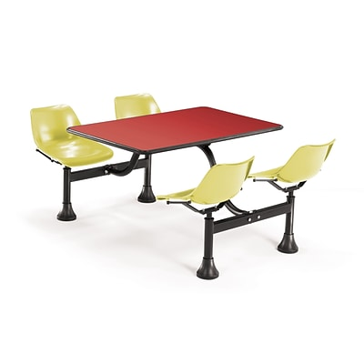 OFM 1002-YLW-RED 24 x 48 Rectangular Laminate Cluster Table with 4 Chairs; Red Table/Yellow Chair