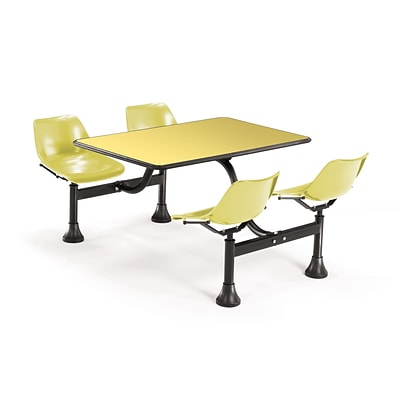 OFM 1003-YLW-YLW 30 x 48 Rectangular Laminate Cluster Table w 4 Chairs; Yellow Table/Yellow Chair