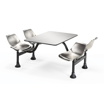 OFM 1004-SS 24 x 48 Rectangular Cluster Table with 4 Chairs; Stainless Steel