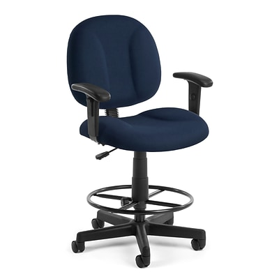 OFM Comfort 105-AA-DK-804 Fabric Task Stool with Arms, Navy