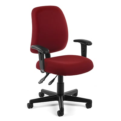 OFM Posture 118-2-AA-801 Fabric Task Chair with Arms, Wine