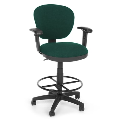 OFM Lite Use 150-AA-DK-120 Fabric Computer Task Stool with Arms; Teal