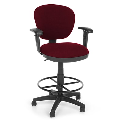 OFM Lite Use 150-AA-DK-122 Fabric Computer Task Stool with Arms; Burgundy