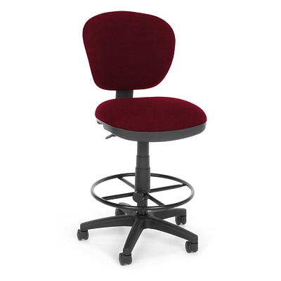 OFM Lite Use 150-DK-122 Fabric Computer Task Stool, Burgundy
