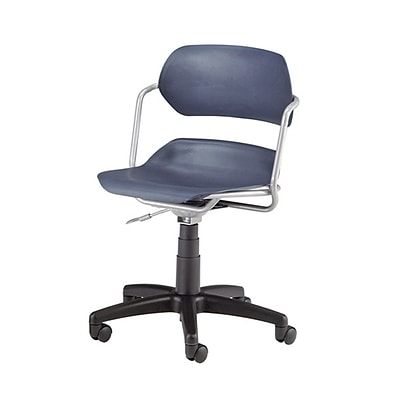 OFM Martisa Series Swivel Task Chair with Silver Frame, Plastic, Mid Back, Navy (200-SLVR-NAVY)