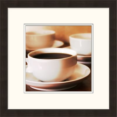 Coffee Cups 1 Framed Art; 18 x 18
