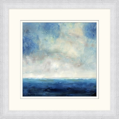 Navy Ocean Horizon 2 Framed Art; 28 x 28