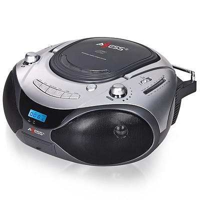 Axess® PB2708-SL 2.4 W-Portable CD/MP3 Boombox With AM/FM Stereo and Aux Input, Silver