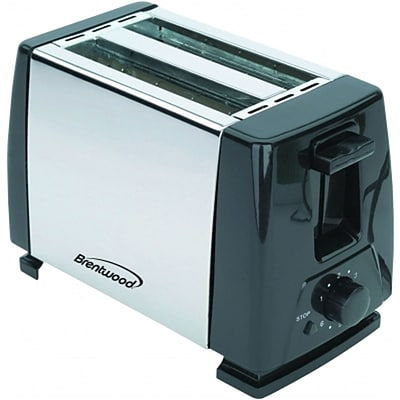 Brentwood® 2-Slice 750 W Toaster; Black/Stainless Steel