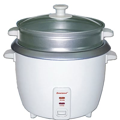 Brentwood® 8-Cup Metal Rice Cooker With Steamer; White