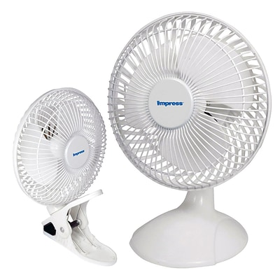 Impress® 6 Portable Dual Purpose Clip On Desk Fan, White