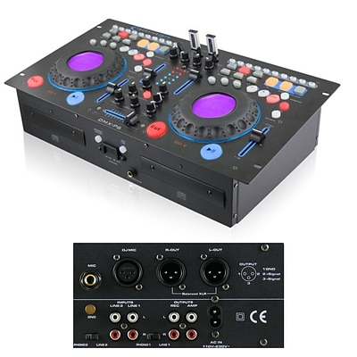 Technical Pro DMXP6 Rack mountable Double CD Mixer With USB and BPM, Black