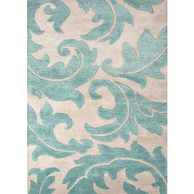 Jaipur Floral Area Rug Wool & Art Silk 2 x 3, Antique White & Light Turquoise