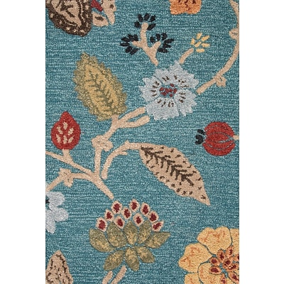 Jaipur Hand-Tufted Floral Pattern Area Rug Wool & Art Silk 5 x 8, Peacock Blue & Marigold
