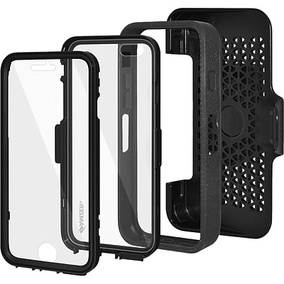 Amzer® CRUSTA™ Tempered Glass Rugged Case With Holster For iPhone 6; Black/Black