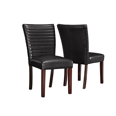 Monarch Specialties Inc. I 1967 Leather Look Parson Chair, Dark Brown
