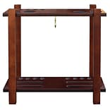 Hathaway BG2567W Classic Floor Billiard Pool Cue Rack, Antique Walnut