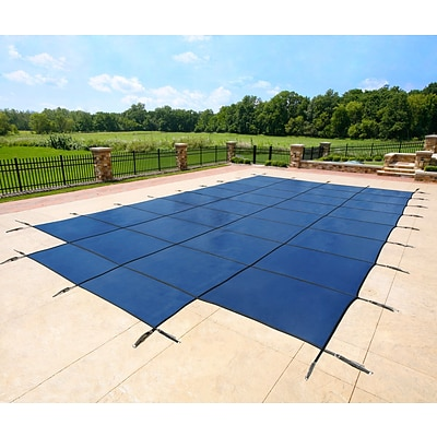 Arctic Armor BWS335B Blue Rectangular In Ground 12 Year Pool Safety Cover w Center End Step, 18x34
