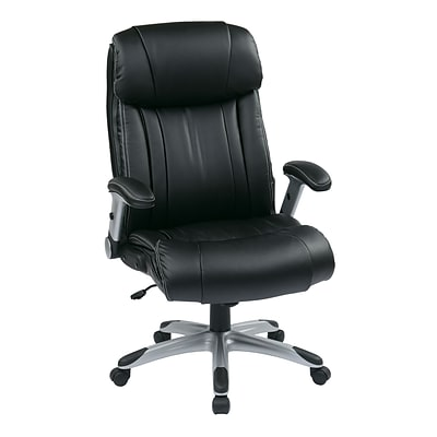 Office Star WorkSmart Eco Leather Executive Chair, Adjustable Arms, Black