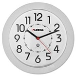 Lorell Round Profile Radio Controlled Wall Clock, White