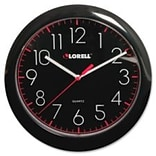 Wall Clock, 10, Arabic Numerals, Black Frame/Black Face