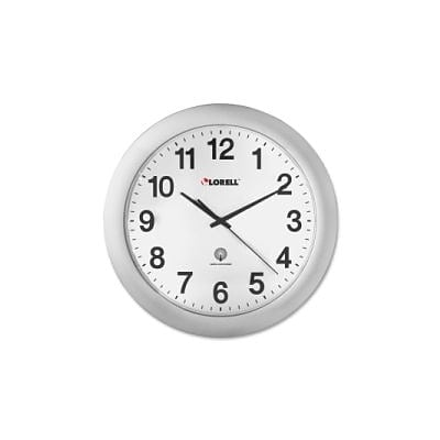 Lorell Radio Controlled Wall Clock, Silver