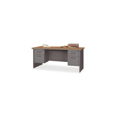 Lorell 67000 Series in Cherry/Charcoal, 72W x 36D Double Pedestal Desk