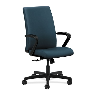 HON® Ignition® Mid-Back Office/Computer Chair, Fixed Arms, Centurion Blue Fabric