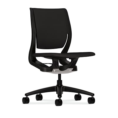 HON® Purpose® Mid-Back Computer Chair, Upholstered, Onyx