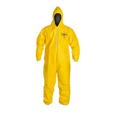 DuPont® Tychem® QC Coveralls, 3XL, Front Zipper Closure, Yellow, 12/CT