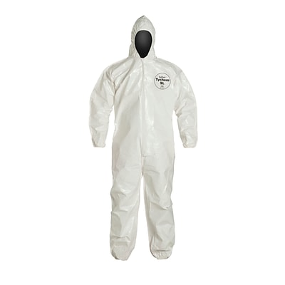 DUPONT Tychem Hooded Tychem Disposable Coverall, 2XL