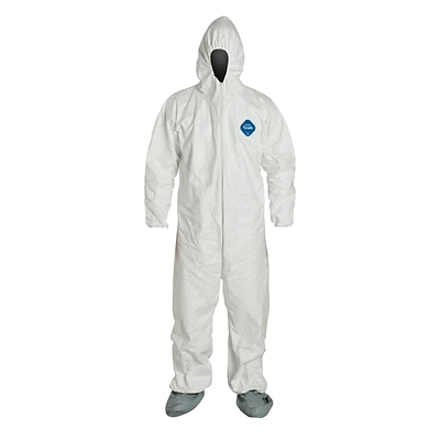 DUPONT Fabric Disposable Coverall with Hood and Boots, Medium, 25/Carton
