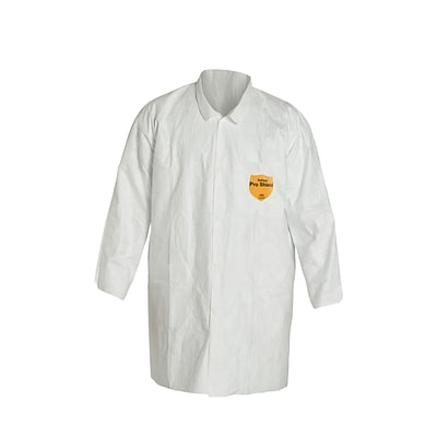 DuPont® Tyvek® Lab Coats, Large Size, Front Snap Closure, White, Serged Seams
